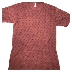 Long Burgundy Shirt With Black Polka Dots